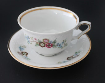 Tea Cup and Saucer Set by  Favolina, Made in Poland,  Pattern FAV33