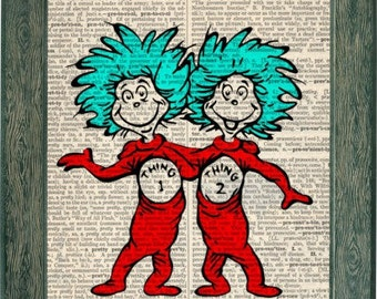 Dr. Suess thing 1 thing 2 dictionary art on upcycled dictionary page 8x10