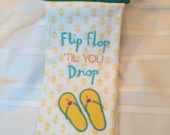 Summer Hanging Hand Towel - Flip-flop Hand Towel - Hanging Kitchen Towel - Hand Towel w/ Flip-flops - Kitchen Towel - Towel w/ Flip-flops