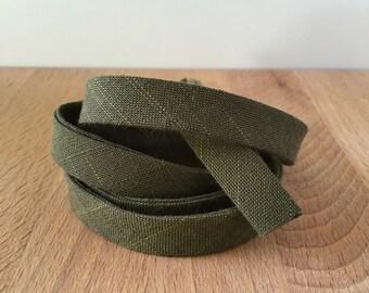 "Bias Tape- Kaufman Manchester Yarn-Dyed Moss Chambray 1/2"" Double-Fold Cotton binding- Army Green- 3 yard roll"