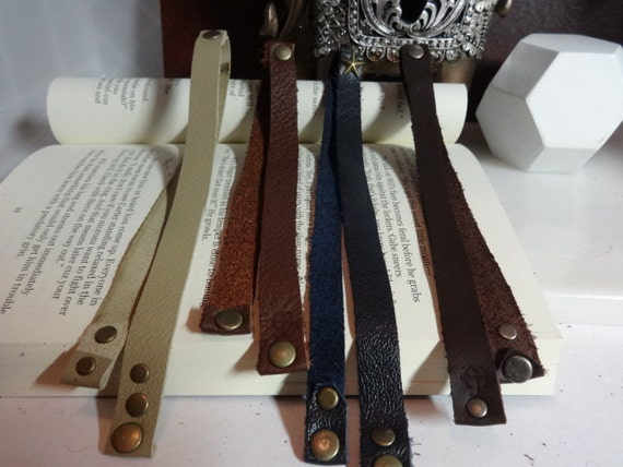 Leather bookmarks, leather book ribbons, Teacher's gift, Book lover's gift
