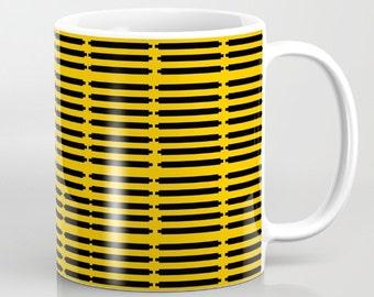 Yellow Black Coffee Mug Pattern Coffee Mug Yellow Mug Black Mug Housewarming Gift Office Gift Girlfriend Gift Dad Gift Mom Gift Friend Gift
