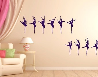 Ballerina, Ballet, Dancer Silhouettes  Wall Art Vinyl Decal Sticker
