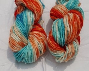 Blue & Tangerine Ombre Hand Dyed Wool Bulky Weight 120 yd each skein