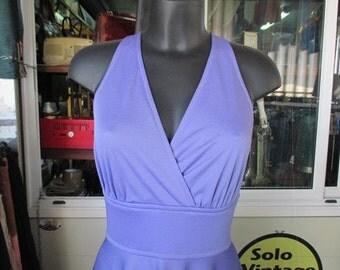 Maxivestito viola anni 70.Spalle incrociate.Acrilico.Fondo di magazzino.Tg S/Stunning 70s violet maxidress/Deadstock/Acrilic/Size 8-10