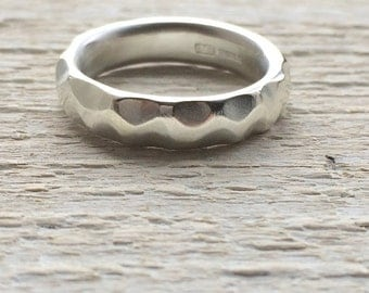 Sterling silver ring, chunky silver ring,hallmarked statement silver ring, unusual wedding ring, textured silver ring