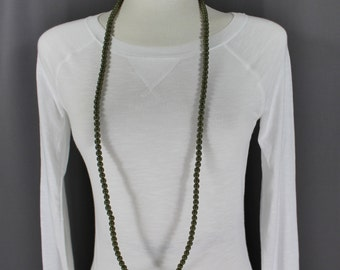 "Olive Green super extra long beaded necklace 44"" long double wrap strand"