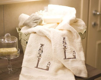 Towels with embroidered monograms