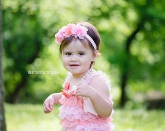 HEADBAND, light pink and peach chiffon flower headband , spring headband , tea party Birthday , 1st birthday