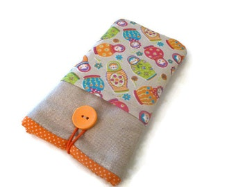 iPhone 6S Fabric case / Padded iPhone SE sleeve / iPhone 4S / iPod Touch 6g 5g sleeve / iPhone 6s Plus cover orange matrioskas pockets