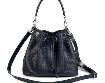 Leather Cross body Bag, Dark blue Leather Shoulder Bag, Women's Leather Crossbody Bag, Leather bag KF-430