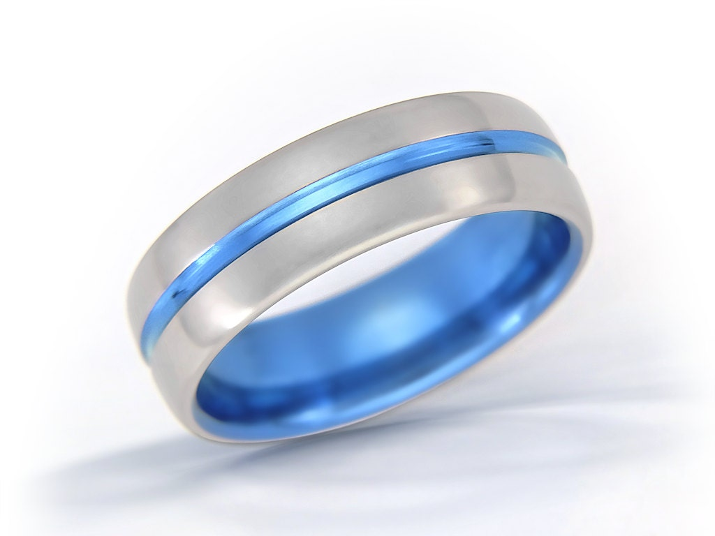 Blue Line Titanium Ring Wedding Band by JFergusonCustomRings