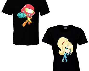 Metroid - Samus or Zero Suit Samus - Choose a Character - Black T-Shirt