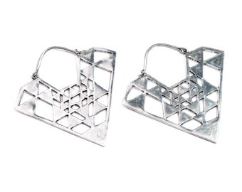 Sri Yantra Tribal Hoop Earrings Geometric Design Boho Ethnic Inspired Jewellery Free UK Delivery Gift Boxed WB35