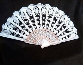 Crocheted hand fan, wedding fan, spanish fan, prop