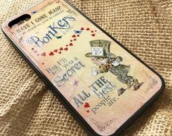 Alice in Wonderland iPhone Rubber Case Cover Mad Hatter Bonkers
