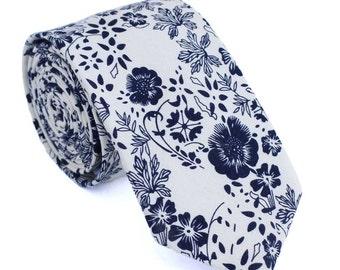 Cream and Black Floral Skinny Tie, Skinny Men's Ties, Cotton Skinny Tie, Men's Floral Skinny Tie