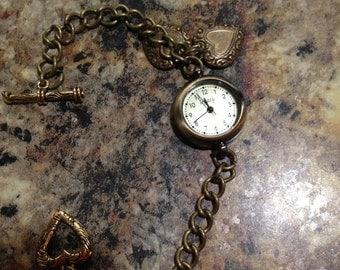 Mini Bronze Charm Bracelet Watch