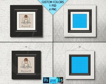 Square #W10 Black White Leather 10x10 Matted Unmatted Frame on Brick Wall, 4 Print Display Mockups PNG PSD PSE Opening 25x25cm Custom colors