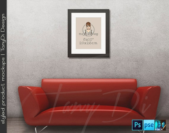 Living Room 1 Red Sofa Wall Interior 8x10 11x14 Black