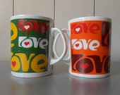 Set of two vintage Coffee Mugs Cups Retro Hippie Flower Power Love Sixties design. Heart Print. Made in Poland. 1960s 1970s Mod Psychedelic