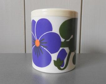 Vintage LAURIDS LONBORG jar canister container. Danish design Al and Lena Eklund. Plastic Melamine Purple Mod flower 1960s 1970s