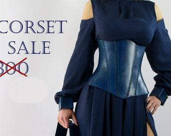 Leather corset blue