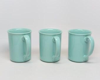 "Vintage 1980's (3) Corning Aqua or Sea Foam Coffee Mugs, Near MINT, 3-7/8""H, 3"" Diameter, Holds Approx. 10 oz, Microwavable."