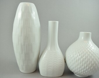 Mid Century German white porcelain vases, instant collection of three,  by Edelstein Porzelan Bavaria, 70s
