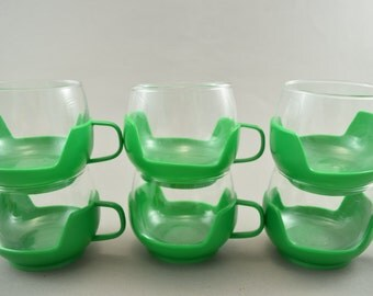 Vintage Drink Up Cups, Glass Cups with Holders, orange, Flower Power  Punch Glasses, Plastic Cup Holders