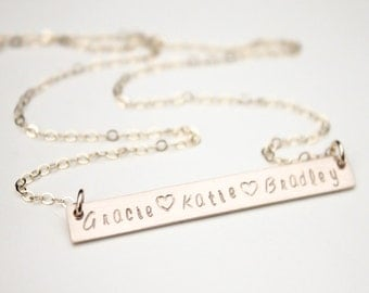 Long Bar necklace / 3 Name Necklace / Three Name Necklace / Personalized Handstamped Mommy Necklace / Gift for Mom / Silver or Gold