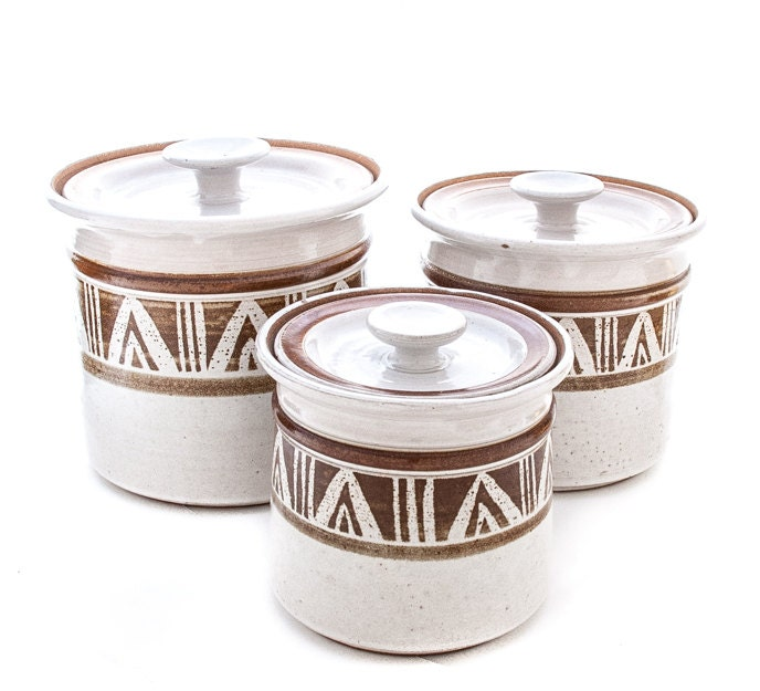KITCHEN CANNISTER SET Three Ceramic Hand Thrown Canisters