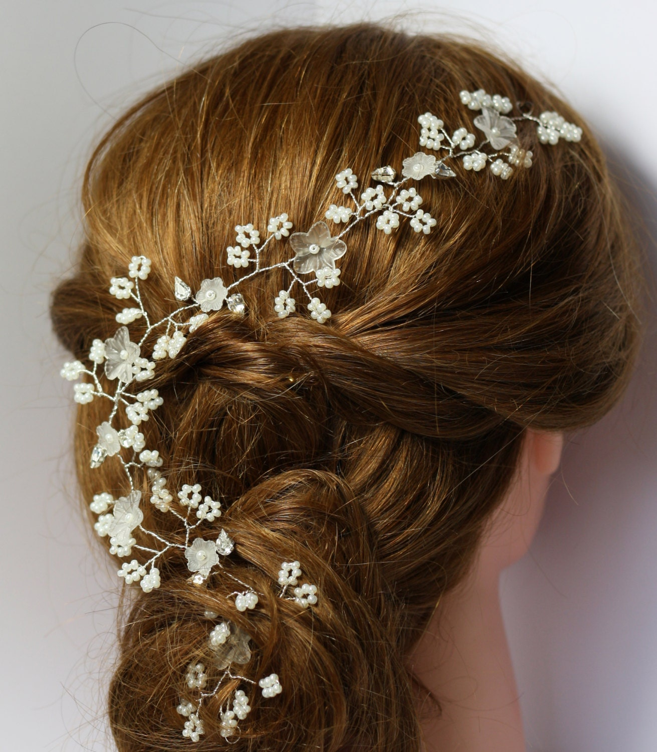 20 Wedding Hairstyles With Flowers: Flower Bridal Hair Vine Bridal Hair Adornment Floral Hair