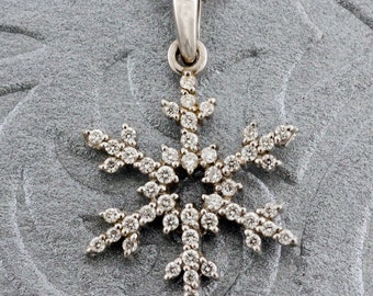 Winter Snowflake Necklace set in 14K White Gold with Diamond Accents