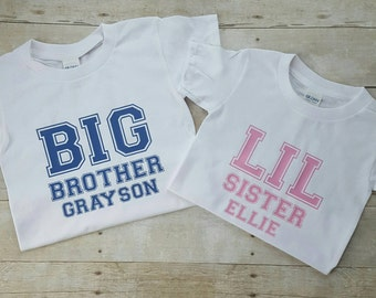 Big brother and little sister shirts, sibling shirts, brother sister shirts, personalized childrens shirts, blue and pink