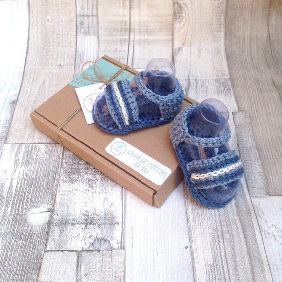 Crochet booties,boys crocheted sandals, baby boys shoes, Blue booties, crib shoes, newborn, crocheted booties, baby shower, summer shoes