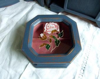 jewellery box / octagonal jewellery box / vintage jewellery box /octagon shaped jewellery box.