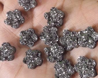Gunmetal faux druzy nugget 12mm flower Cabochons 10pcs (C9:11-43)