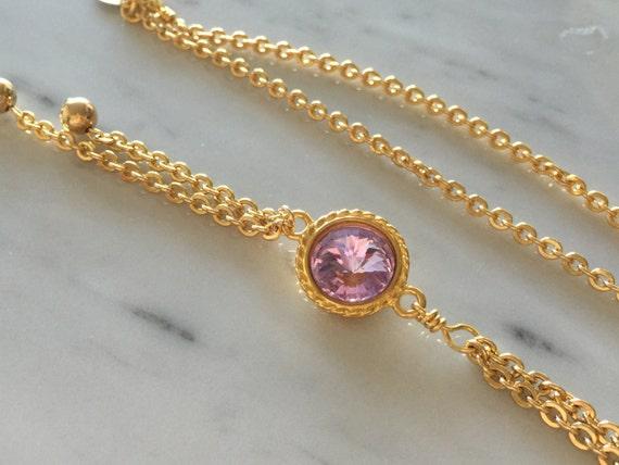 Swarovski Violet Y Double Chain Necklace,  Violet Crystal Necklace, Swarovski Purple Y Necklace
