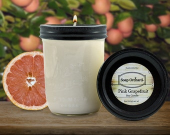 Pink Grapefruit Soy Candle, Grapefruit Candle, Jar Candle, Aromatherapy Candle, Non-toxic Candle, 16 oz candle