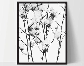 Branches and Flowers, Wall Art, Artwork, Home Decor, Modern Print, Print Art, Abstract Art, Black White, Decorations, Digital Print