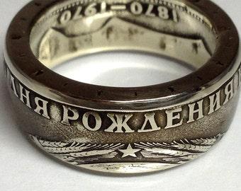 Coin Ring USSR - Soviet Union Souvenir - 1 Ruble - Rings from Coins - Lenin - Russia - Russian history - 1 рубль кольца из монет