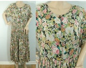 75% OFF Feb 9 - 11 80s Multicolored Sheer Flowered Garden Party Dress • Size Xlarge • Vintage 1980s Floral Short Sleeve Midi Dress [D]