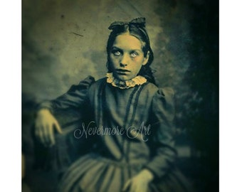 Halloween Creepy Girl Photo Victorian  Horror Altered Art Glowing Eyes Cabniet Card Scary Child Instant Download Ephemera Scrapbook Card