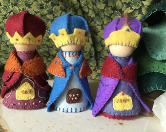 Three Wise Men Peg Gnomes For Waldorf Nature Table and Play