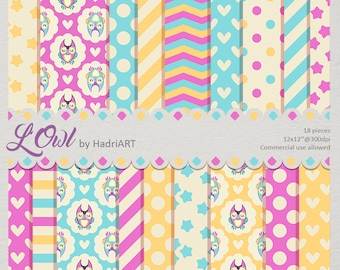 Owl Digital Paper, Owl Pattern