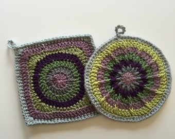 Set of 2 • Purple, Green and Gray, Handmade, Crochet Potholders