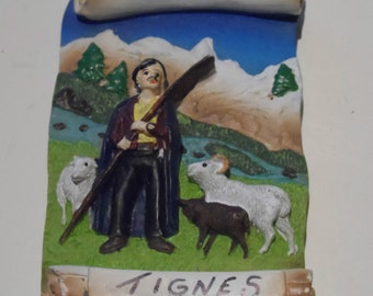 TIGNES 3D Shepherd Sheep Mountains Vintage Souvenir Fridge Magnet France 76252