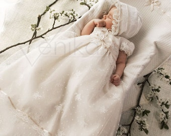 Lace christening gown  in the color ivory  and very delicate pink-wedding baby dress-birthday dress