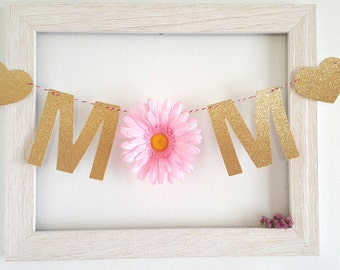 Glitter MOM Banner,Photo back drop,flowers banners,Mother's day banner,Gold mom garland,mother banner,custom letters words text